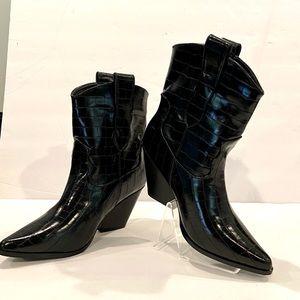Black Mock Croc Vegan cowboy boots. Nwot